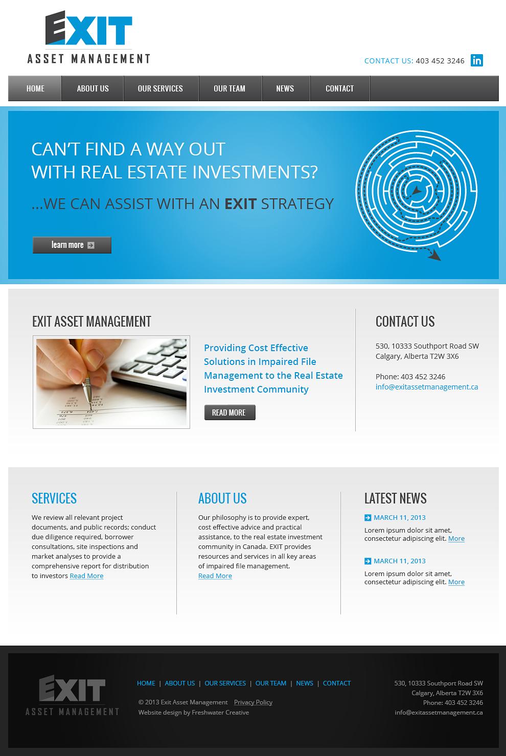 Exit Asset Management Homepage Design