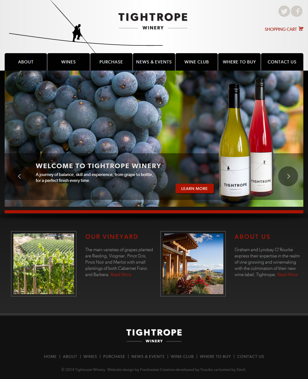 Tightrope Winery Homepage Design