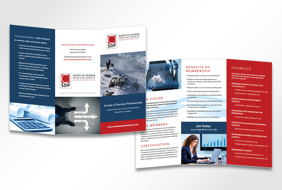 Society of Decision Professionals Brochure Design