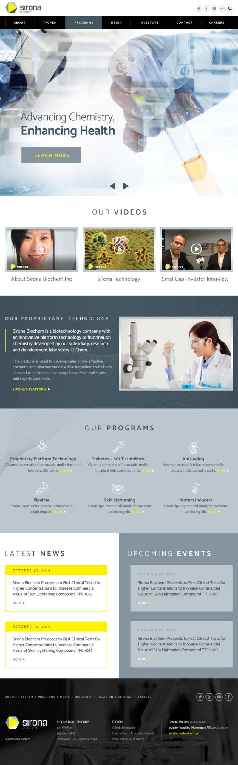 Sirona Biochem Website Design